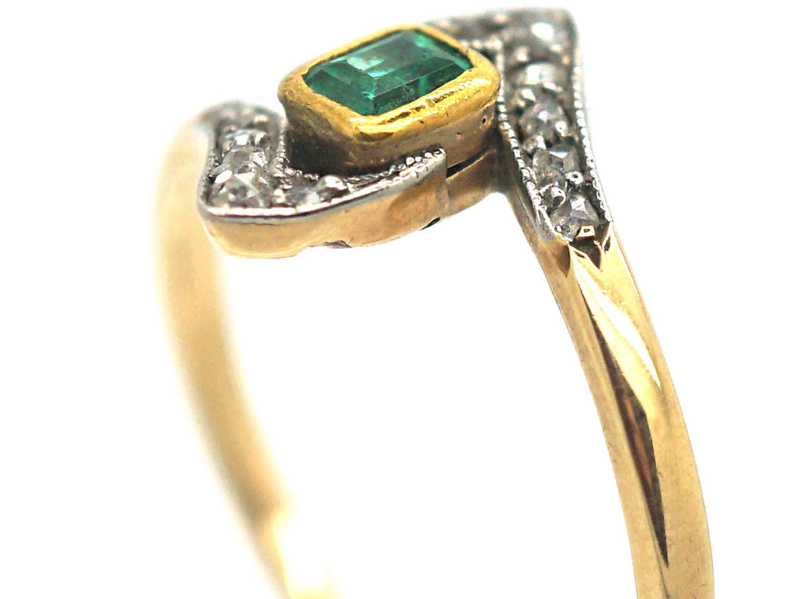 Art Deco Emerald & Rose Diamond Ring