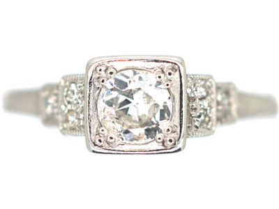 Art Deco 18ct Gold & Platinum Diamond Solitaire Ring with Step Cut Shoulders