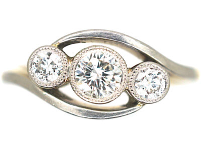 Edwardian 18ct Gold & Platinum Three Stone Diamond Twist Ring