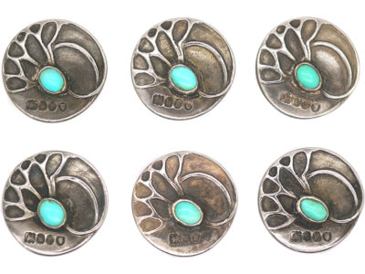 Set of Six Art Nouveau Silver & Turquoise Buttons by Theodor Fahrner & Retailed by Murrle Bennett & Co