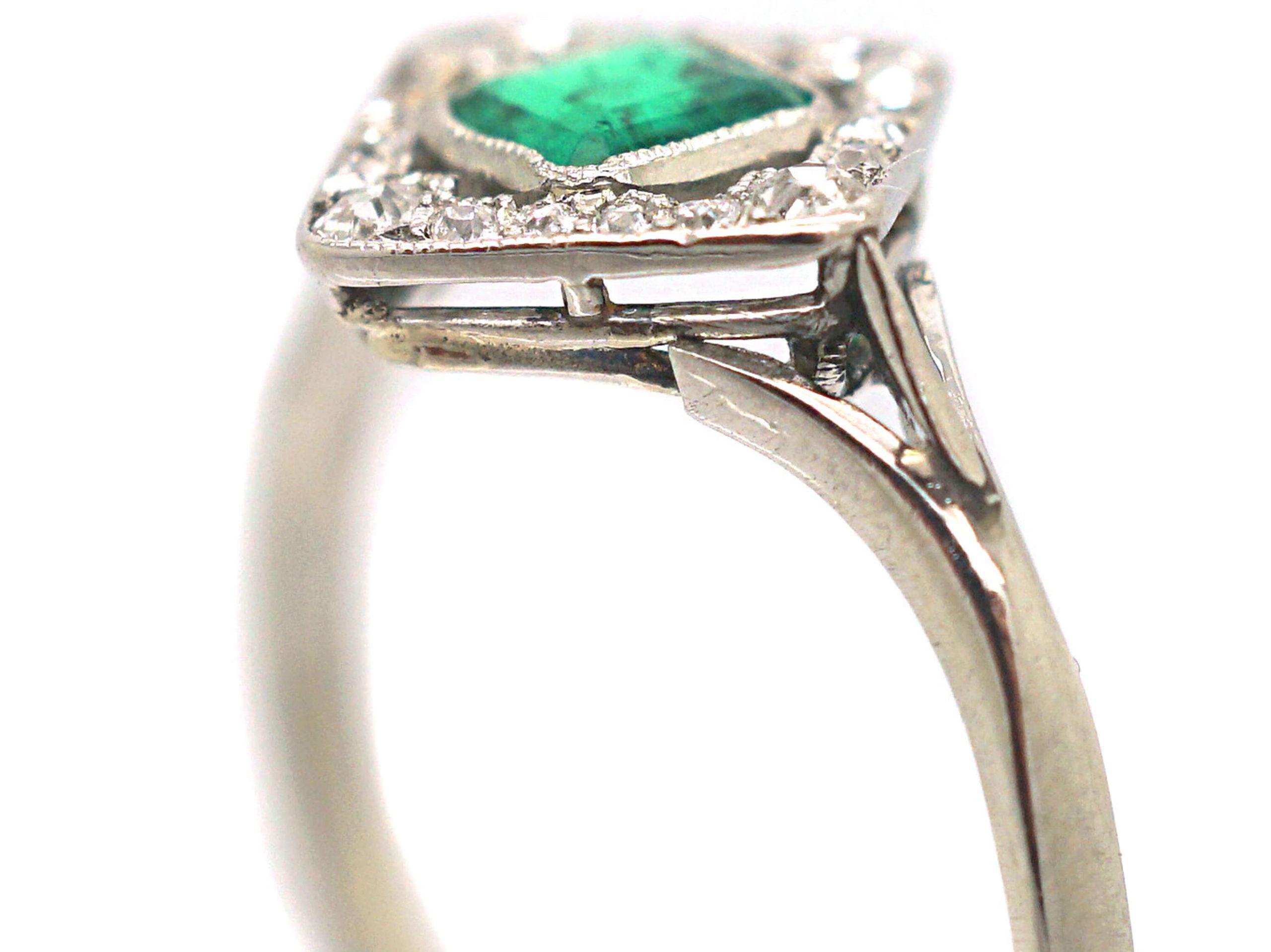 Art Deco 18ct White Gold Emerald & Diamond, Diamond Shaped Ring