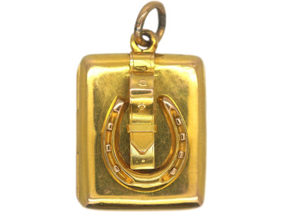 Victorian 15ct Gold Horseshoe & Buckle Rectangular Locket