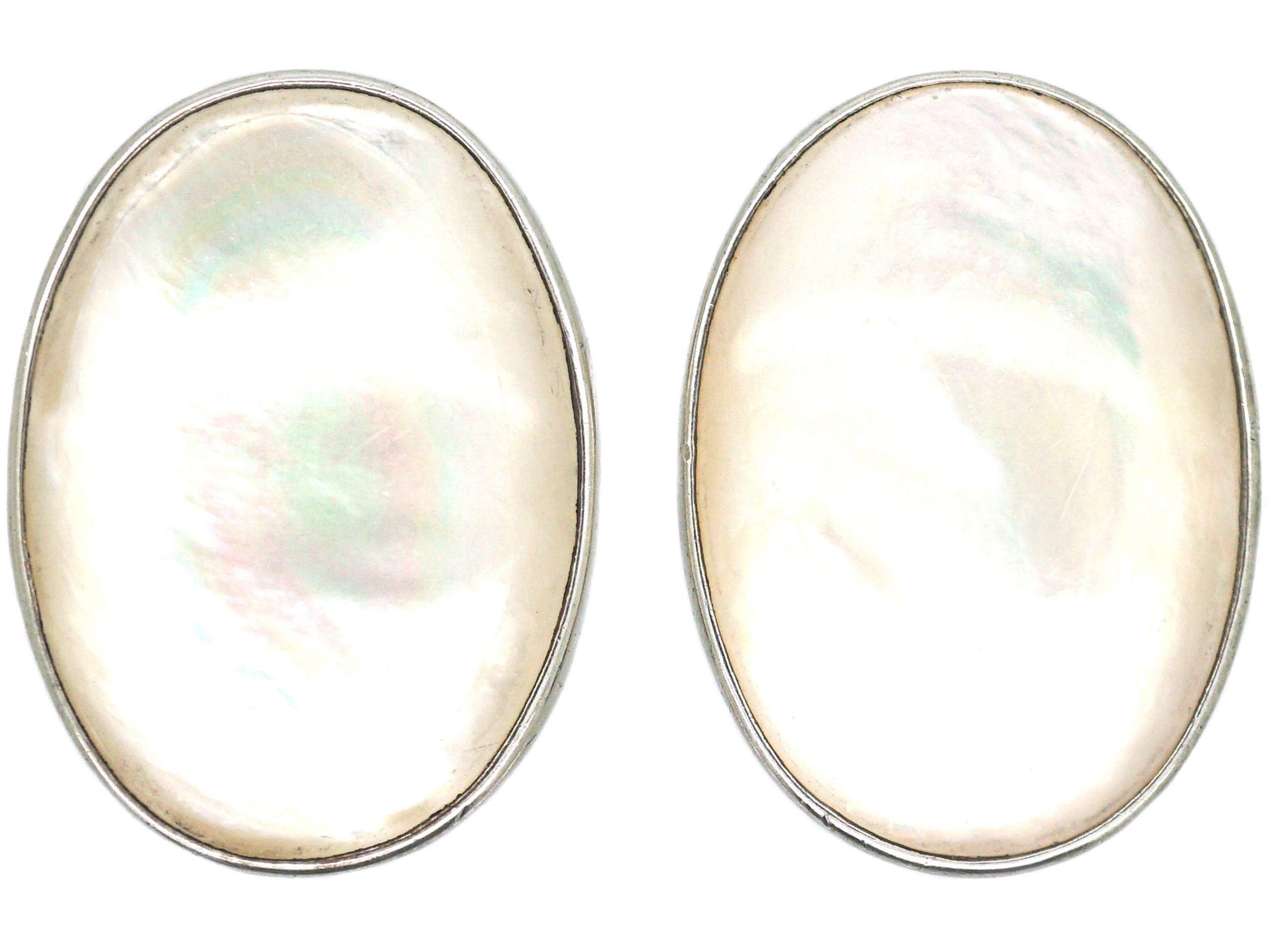 Large Polish Silver & Mother of Pearl Oval Shaped Earrings