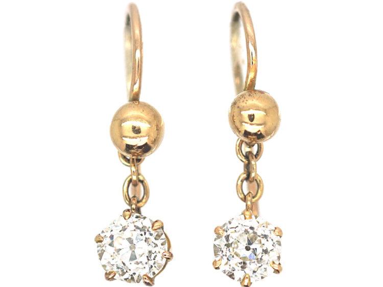 Edwardian Gold & Solitaire Old Mine Cut Diamond Drop Earrings