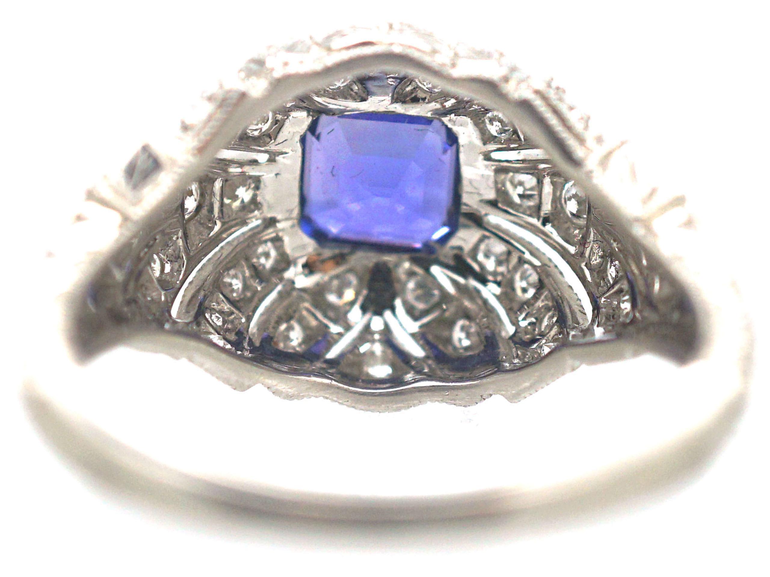 Art Deco Platinum, Ceylon Sapphire & Diamond Cluster Ring