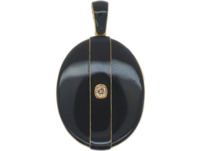 Victorian 18ct Gold & Black Enamel Oval Locket set with a Diamond
