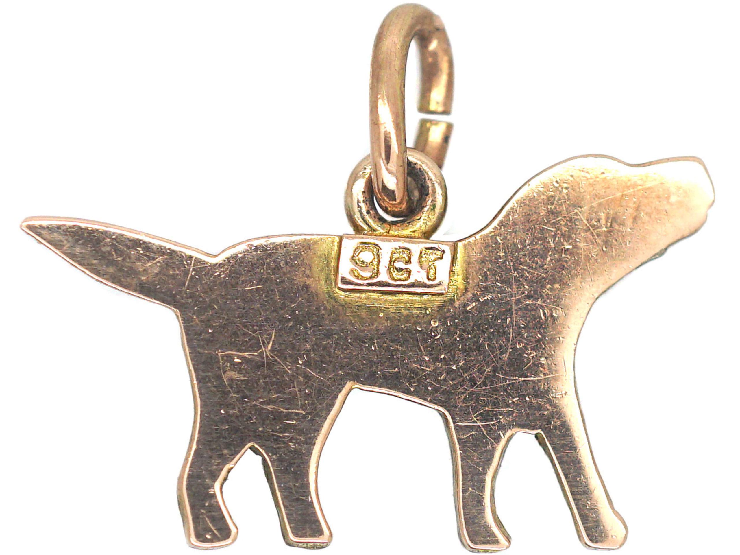 Edwardian 9ct Gold Spaniel Charm