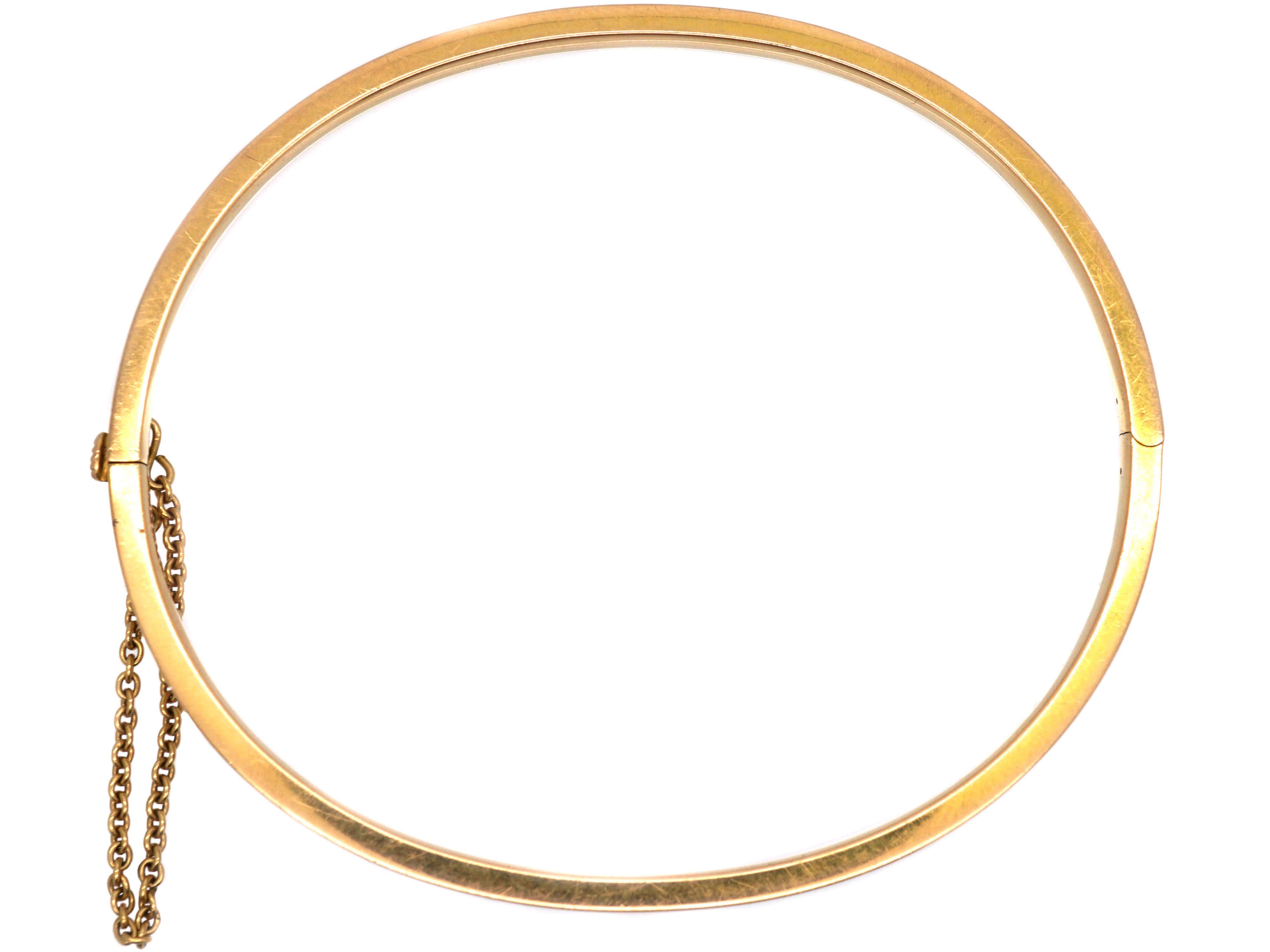 Edwardian 15ct Gold Narrow Ribbed Bangle