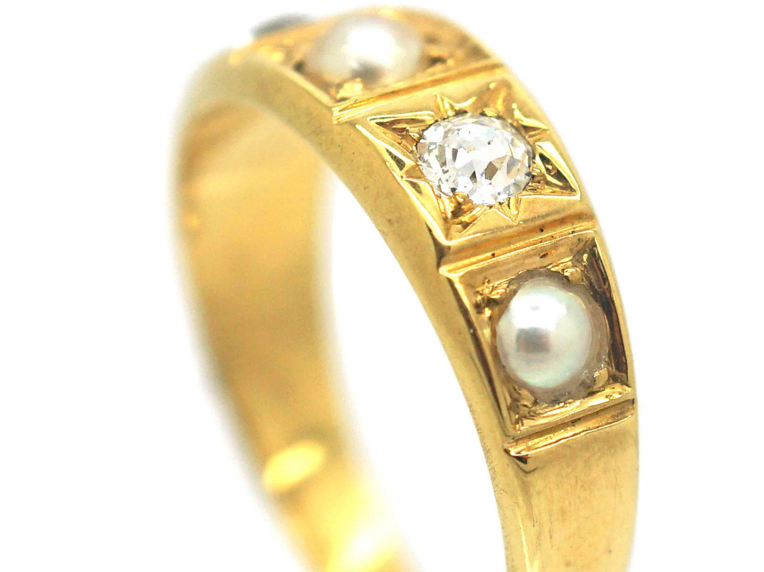 Victorian 18ct Gold Natural Split Pearl & Diamond Ring