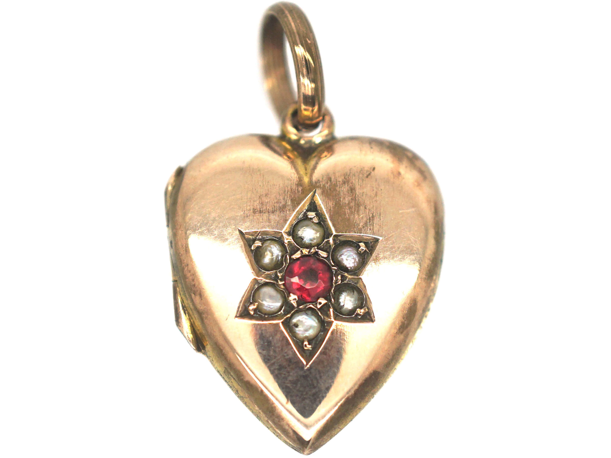 Edwardian 9ct Back & Front Heart Shaped Locket set with a Garnet & Natural Split Pearls