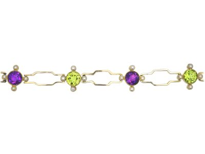 15ct Gold Suffragette Bracelet set with Amethysts, Natural Split pearls & Peridots