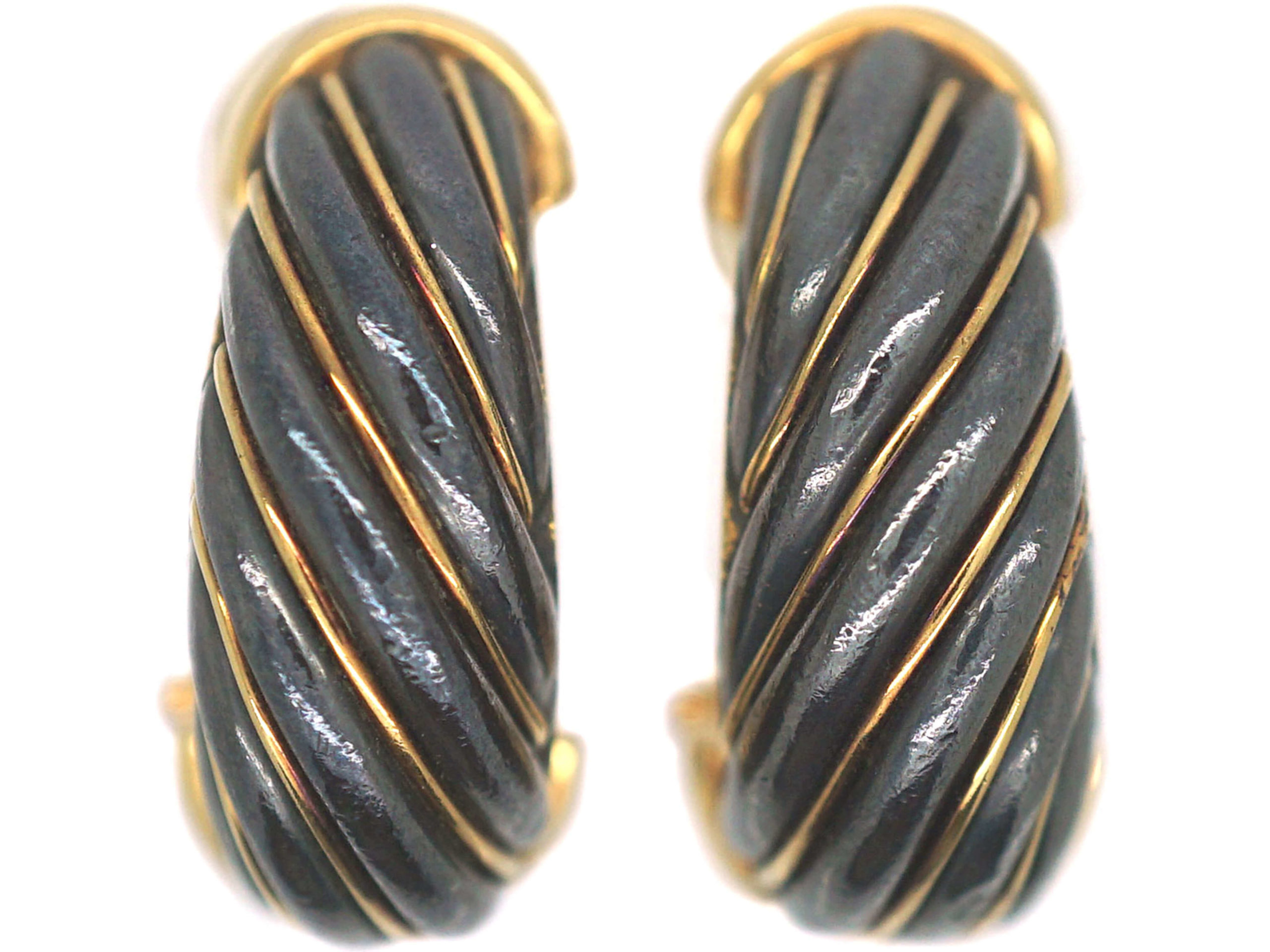 French 18ct Gold & Silverium Cartier Hoop Clip On Earrings in Original Cartier Case