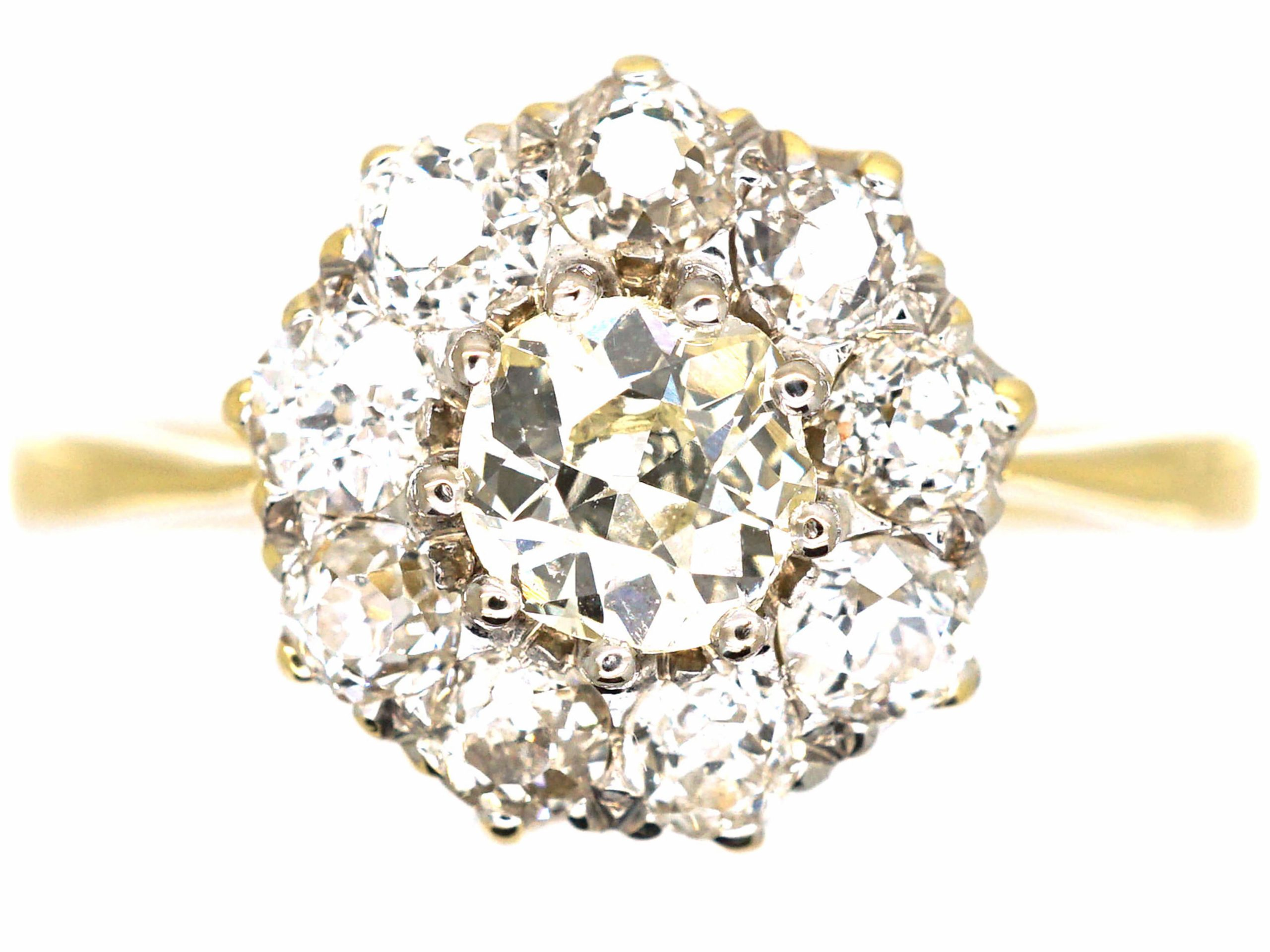 Early 20th Century 18ct Gold Diamond Daisy Cluster Ring