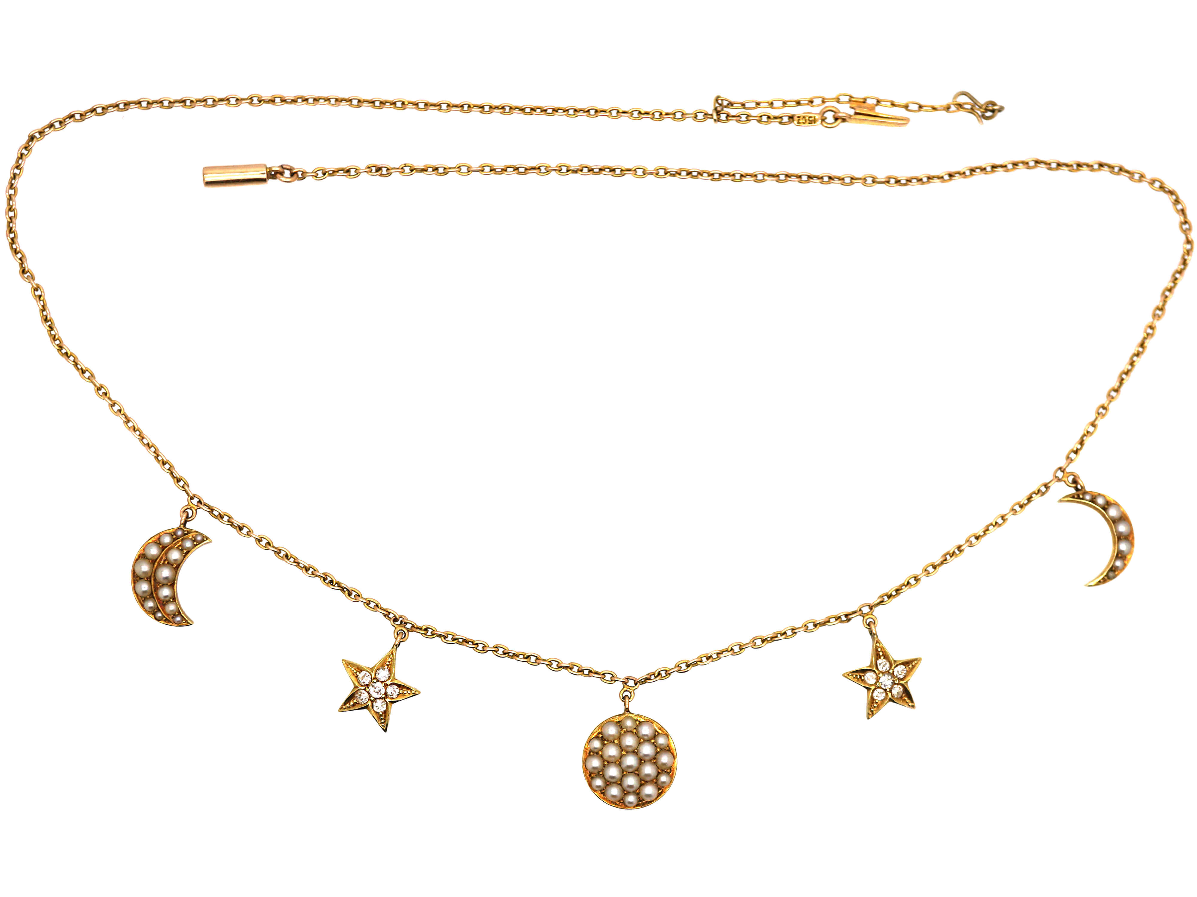 Edwardian 15ct Gold Moon & Crescent Necklace set with Natural Split Pearls