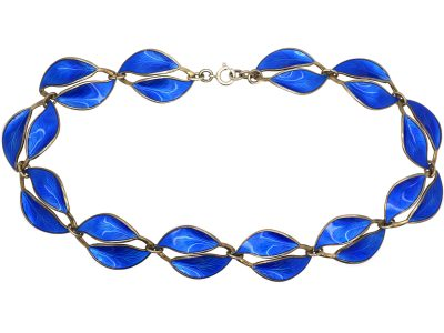 Silver & Blue Enamel Double Leaf Design Necklace by Willy Winnaess for  David Andersen