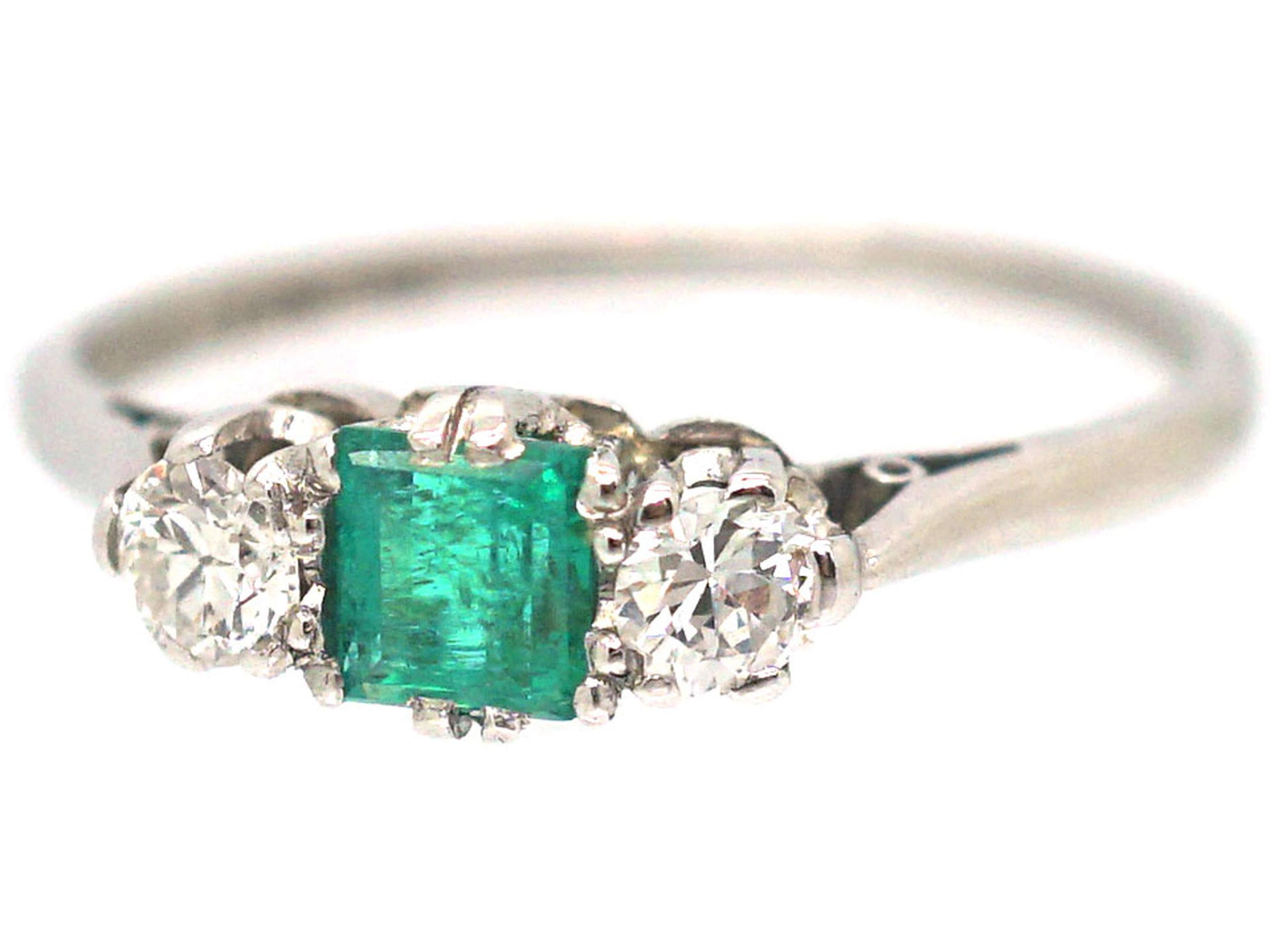 Art Deco Platinum, Emerald & Diamond Three Stone Ring
