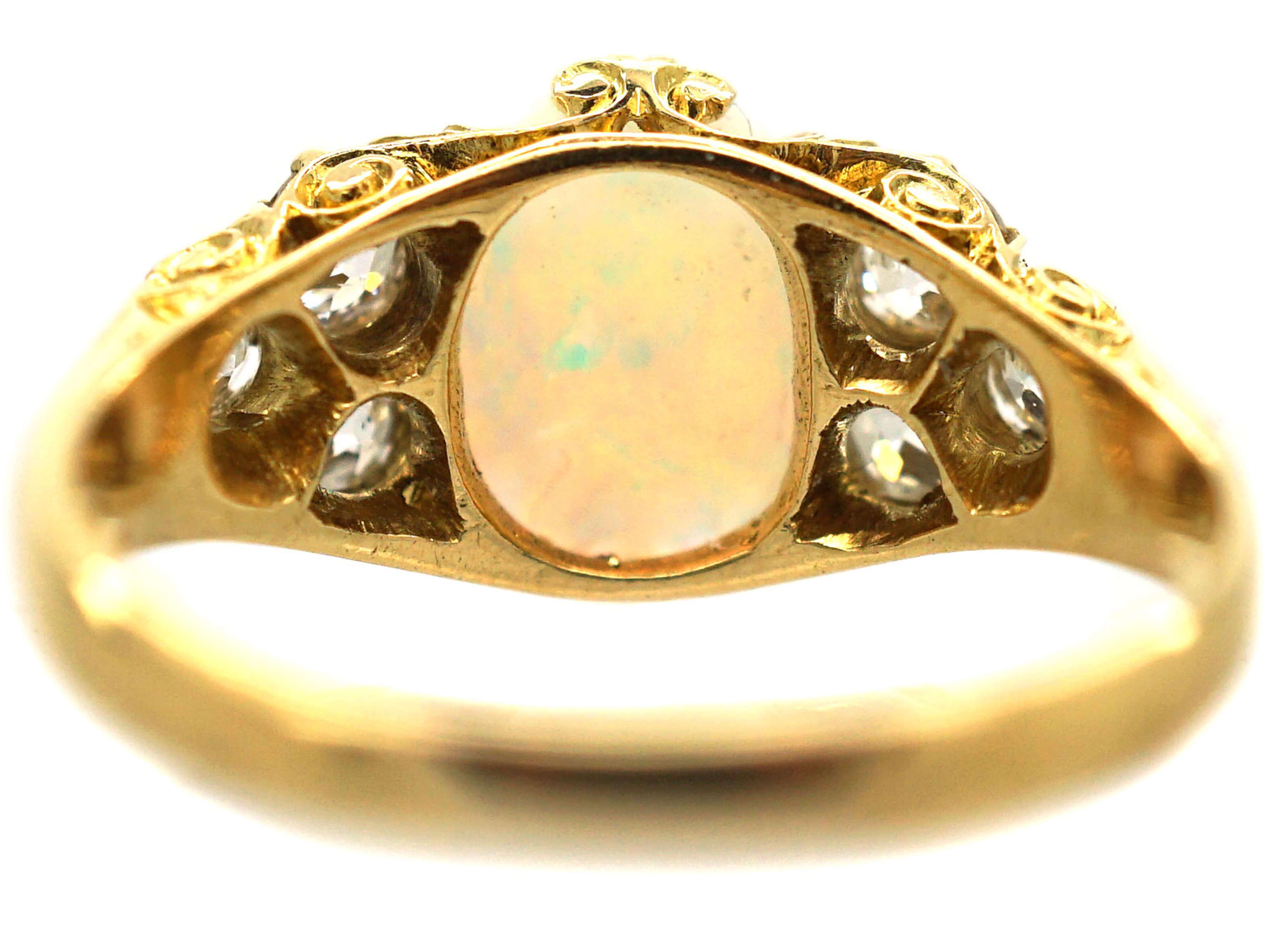 Edwardian 18ct Gold Opal & Diamond Ring