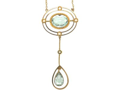 Art Deco 9ct Gold Aquamarine & Natural Split Pearls Pendant on 9ct Gold Chain