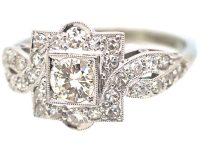 Art Deco Platinum & 18ct White Gold Square Cluster Ring with Entwined Shoulders