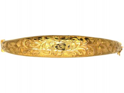 Edwardian 9ct Gold Engraved Bangle
