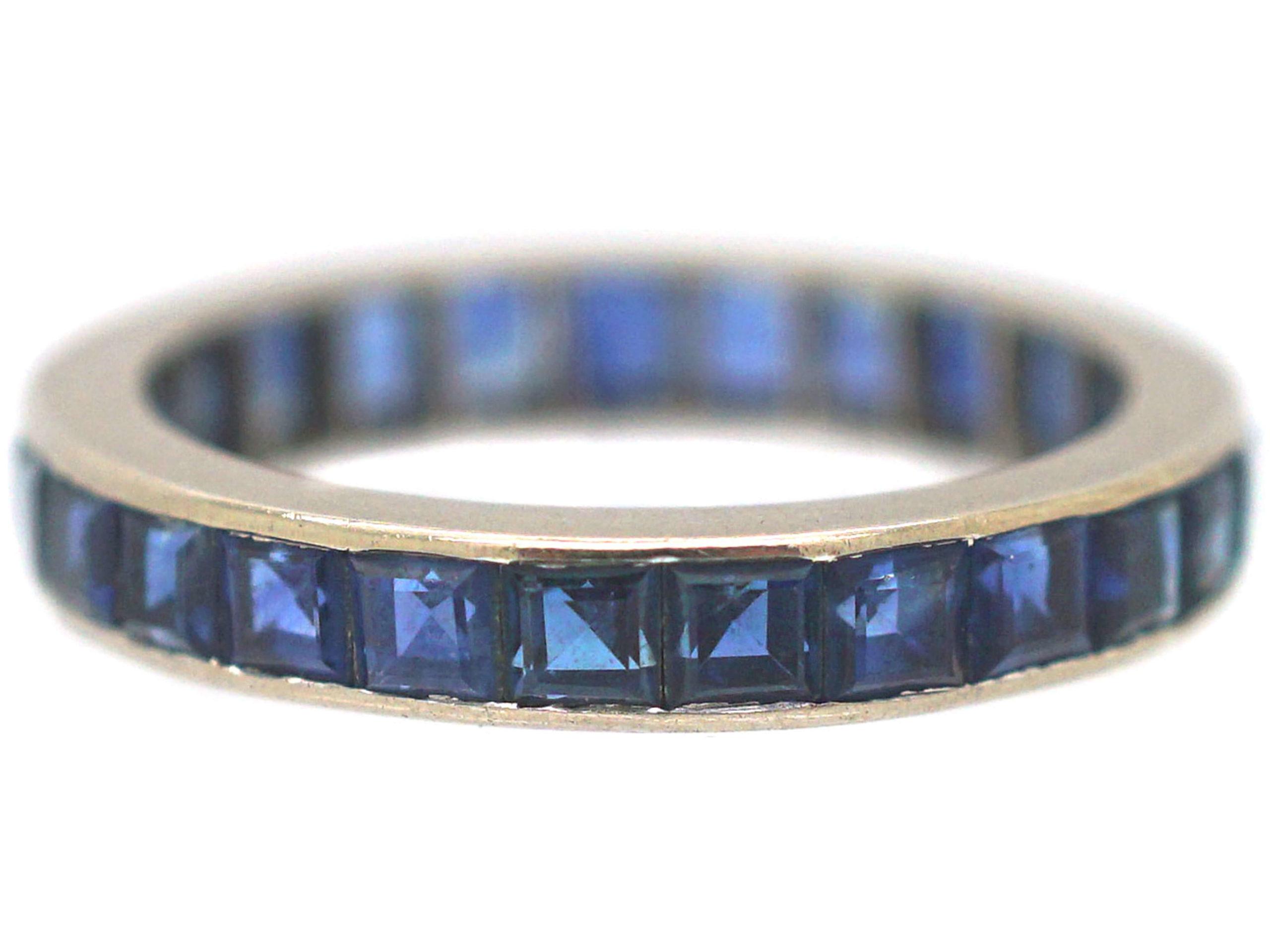 Art Deco 18ct White Gold, Sapphire Eternity Ring