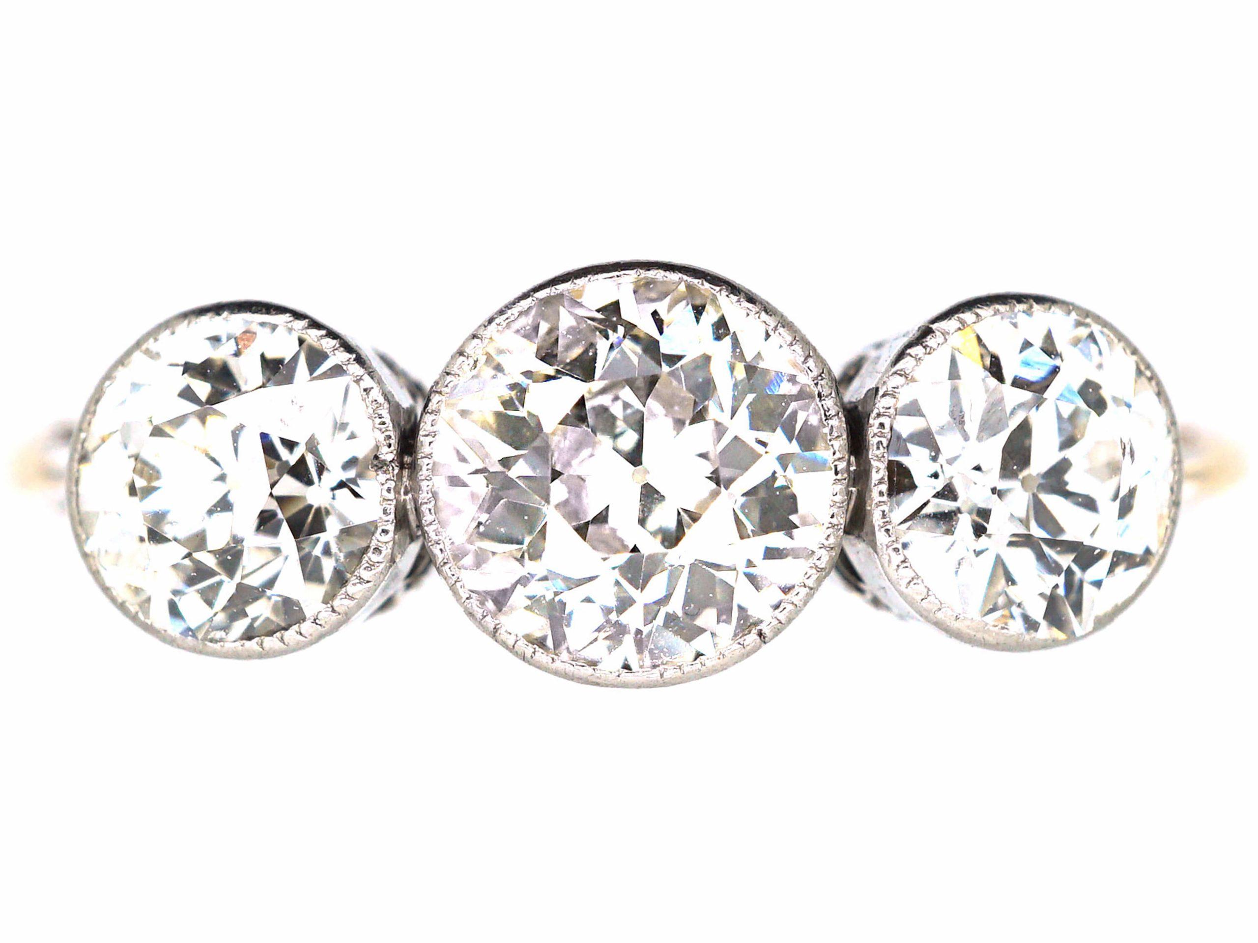 Edwardian 18ct Gold & Platinum, Three Stone Diamond Ring