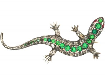 Art Deco Silver, Green, White & Red Paste Brooch of a Lizard