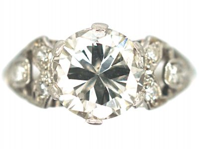 Art Deco Platinum, Solitaire Diamond Ring with Diamond Set Shoulders
