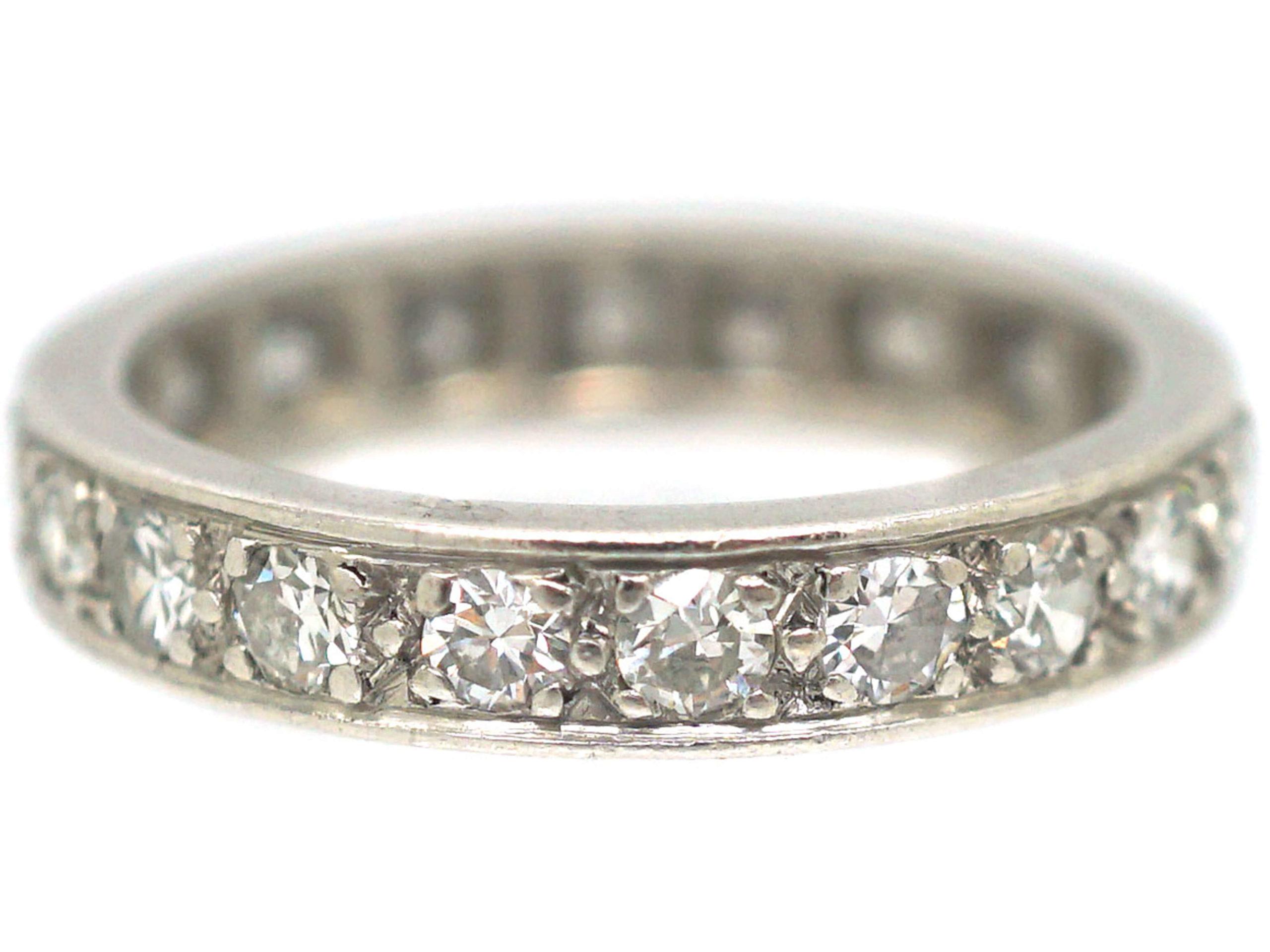 Art Deco French Platinum & Diamond Eternity Ring