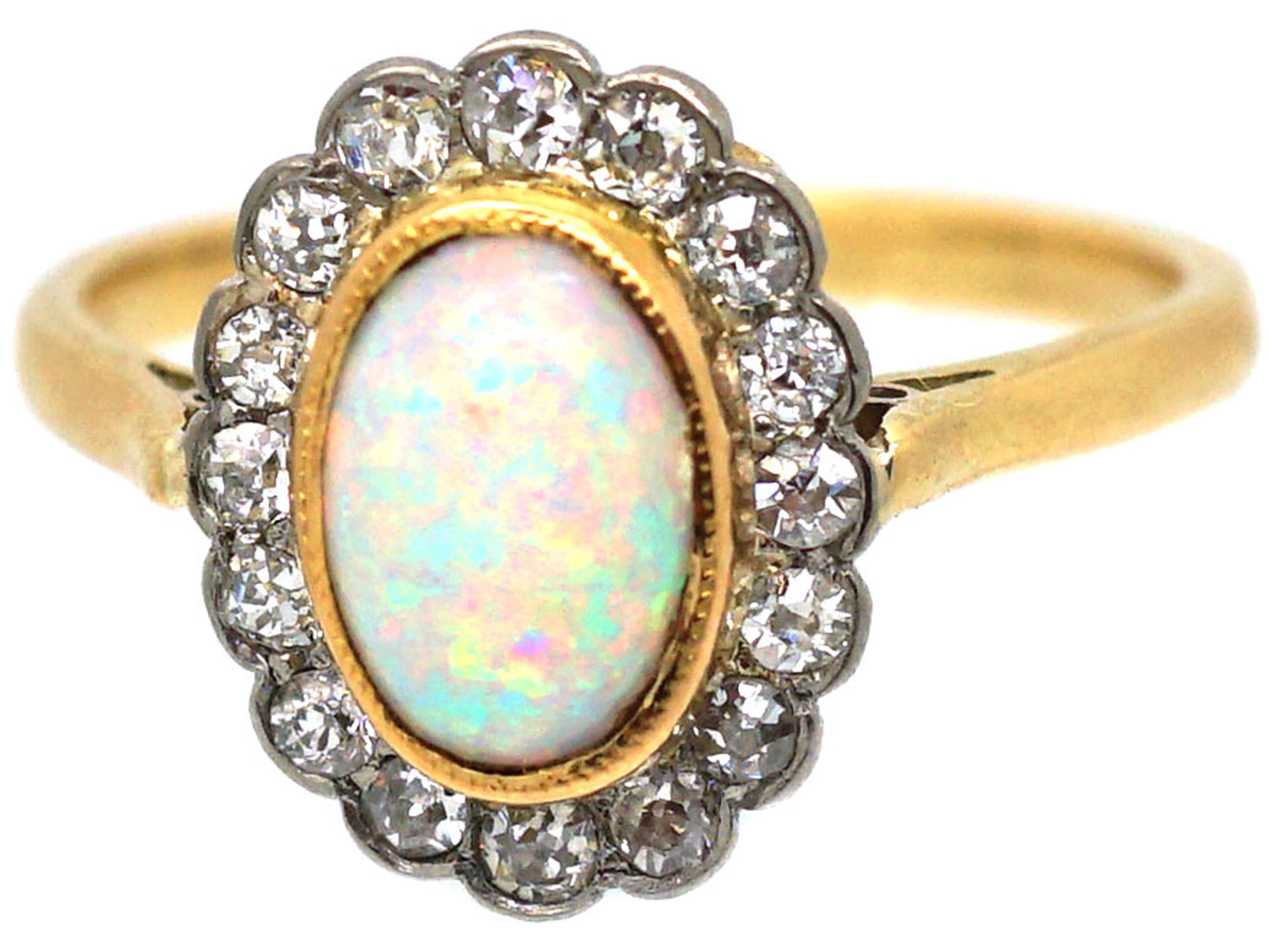 Edwardian 18ct Gold & Platinum, Opal & Diamond Cluster Ring