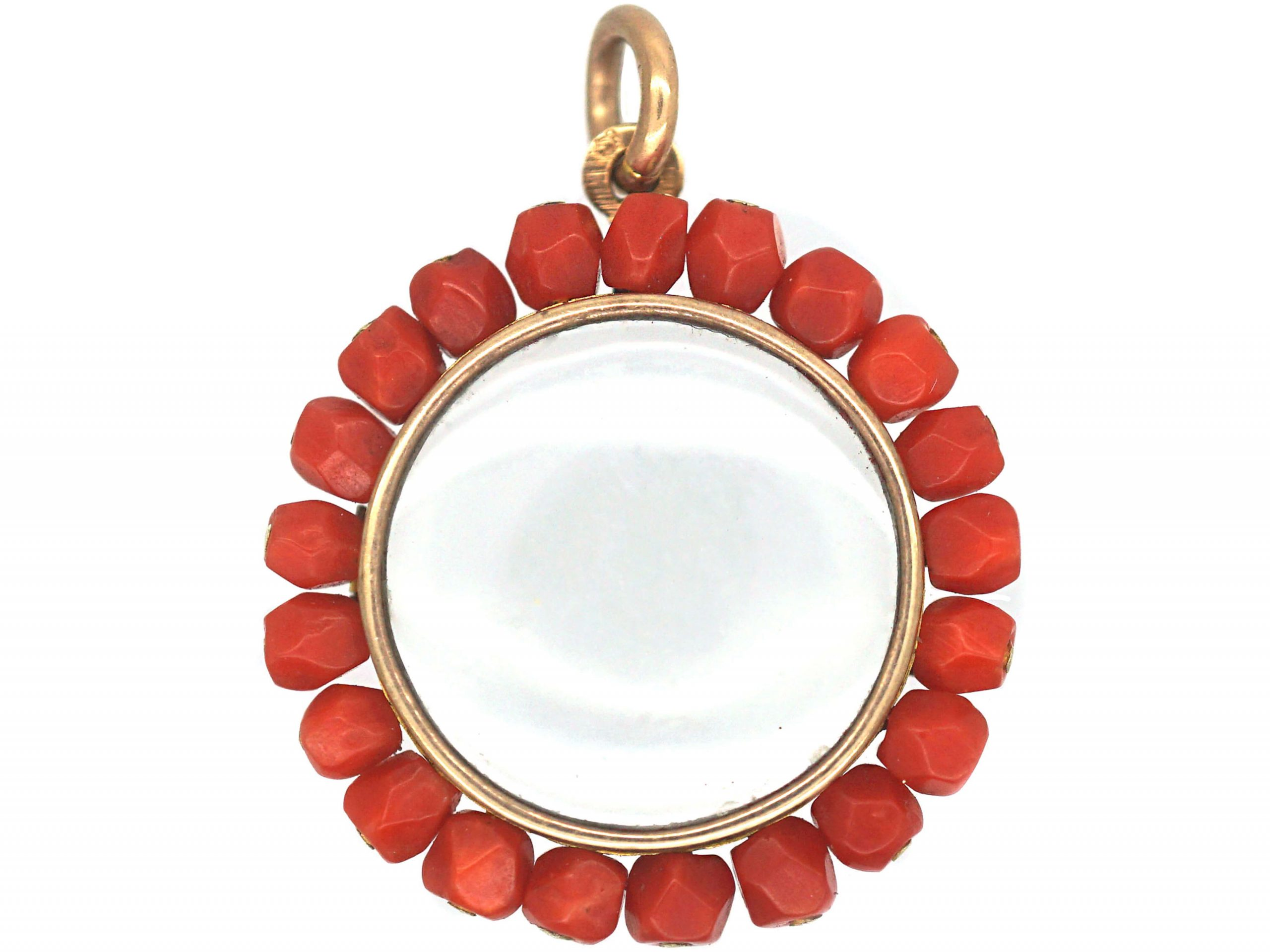 French 19th Century 18ct Gold Round Locket with Coral Border