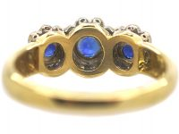 18ct Gold Triple Cluster Ring set with Sapphires & Diamonds by Charles Green & Sons