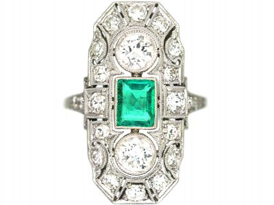 Art Deco Platinum, Emerald & Diamond Plaque Ring with Diamond Set Shoulders