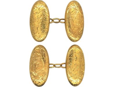 Victorian 15ct Gold Engraved Oval Shaped Cufflinks