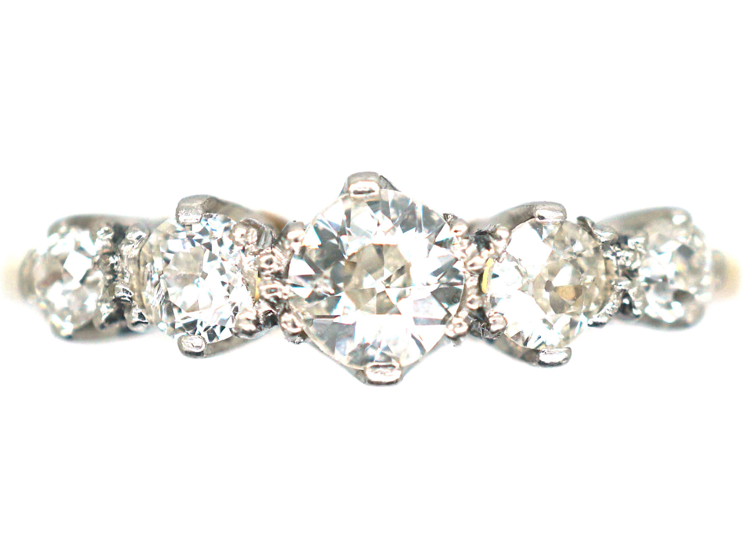 Early 20th Century 18ct Gold & Platinum, Five Stone Diamond Ring