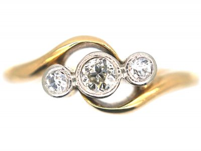 Edwardian 18ct Gold & Platinum, Three Stone Diamond Crossover Ring