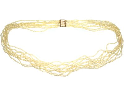 Georgian Ten Strand Natural Seed Pearls Necklace with 15ct Gold & Natural Split Pearl Clasp