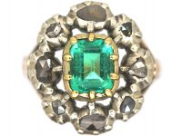 Large French Early 19th Century Emerald & Rose Cut Diamond Cluster Ring