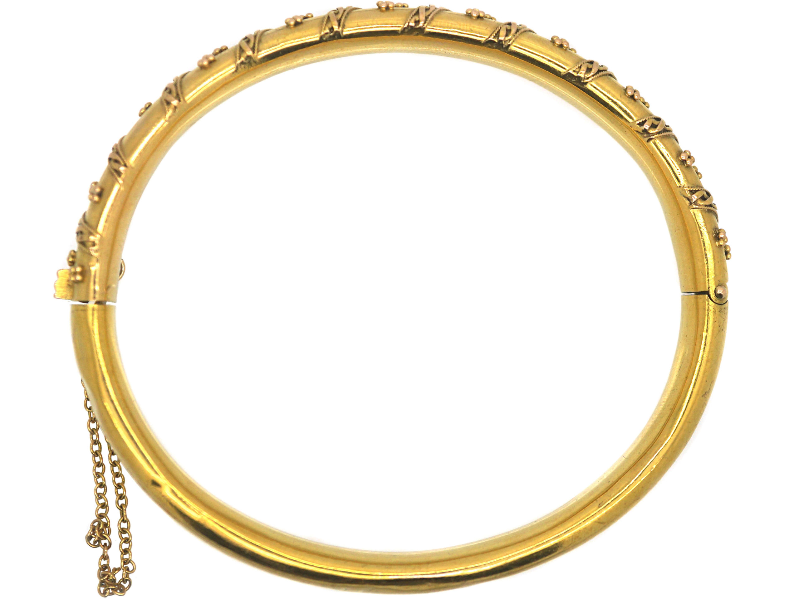 Victorian 15ct Gold Bangle with Applied Decoration