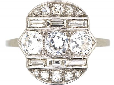 Art Deco Platinum, Diamond Geometric Ring