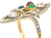 Art Nouveau 18ct Gold & Platinum, Diamond, Emerald, Ruby & Sapphire Ring