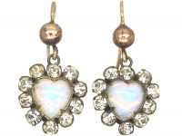 Victorian Opaline Glass & Paste Heart Shaped Earrings on 9ct Gold Wires