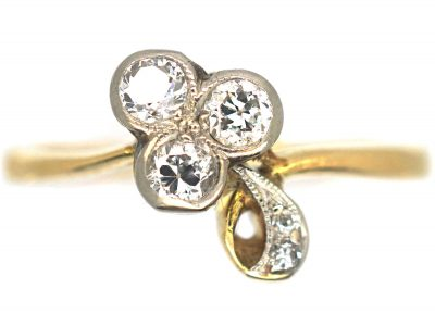 Edwardian 18ct Gold & Platinum Three Leaf Clover Ring set with Diamonds