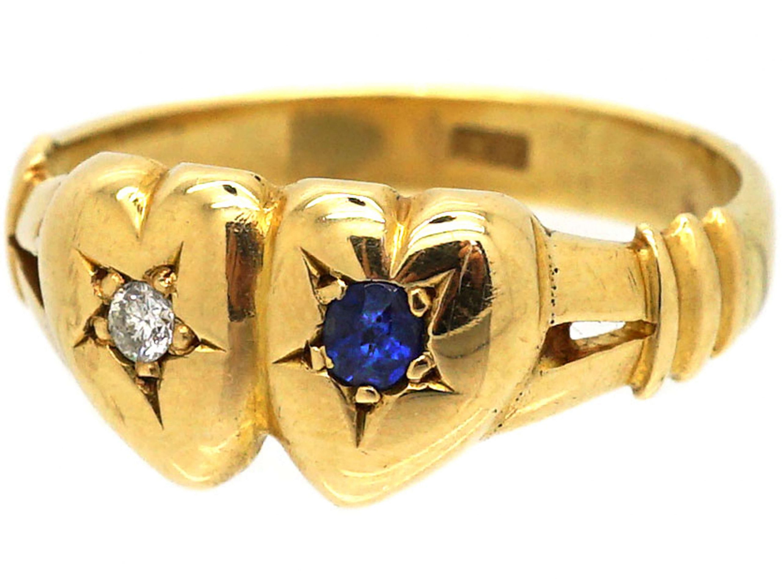 Edwardian 18ct Gold Double Heart Ring