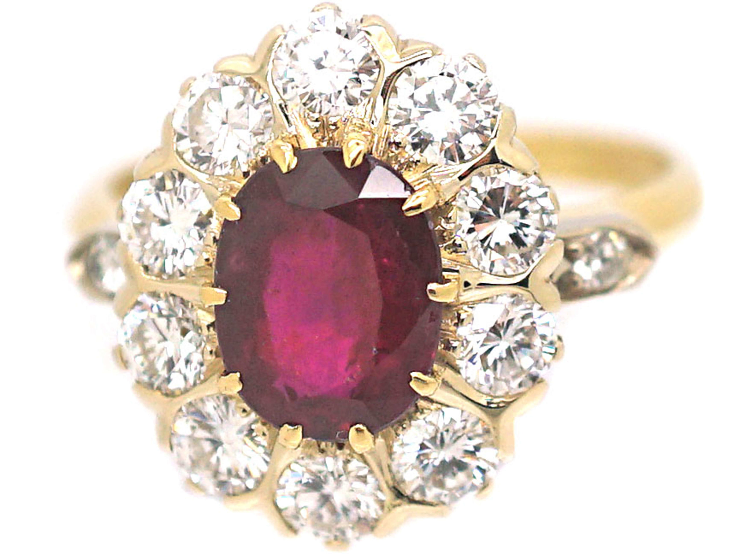 French 18ct Gold, Ruby & Diamond Cluster Ring with Diamond Set Shoulders