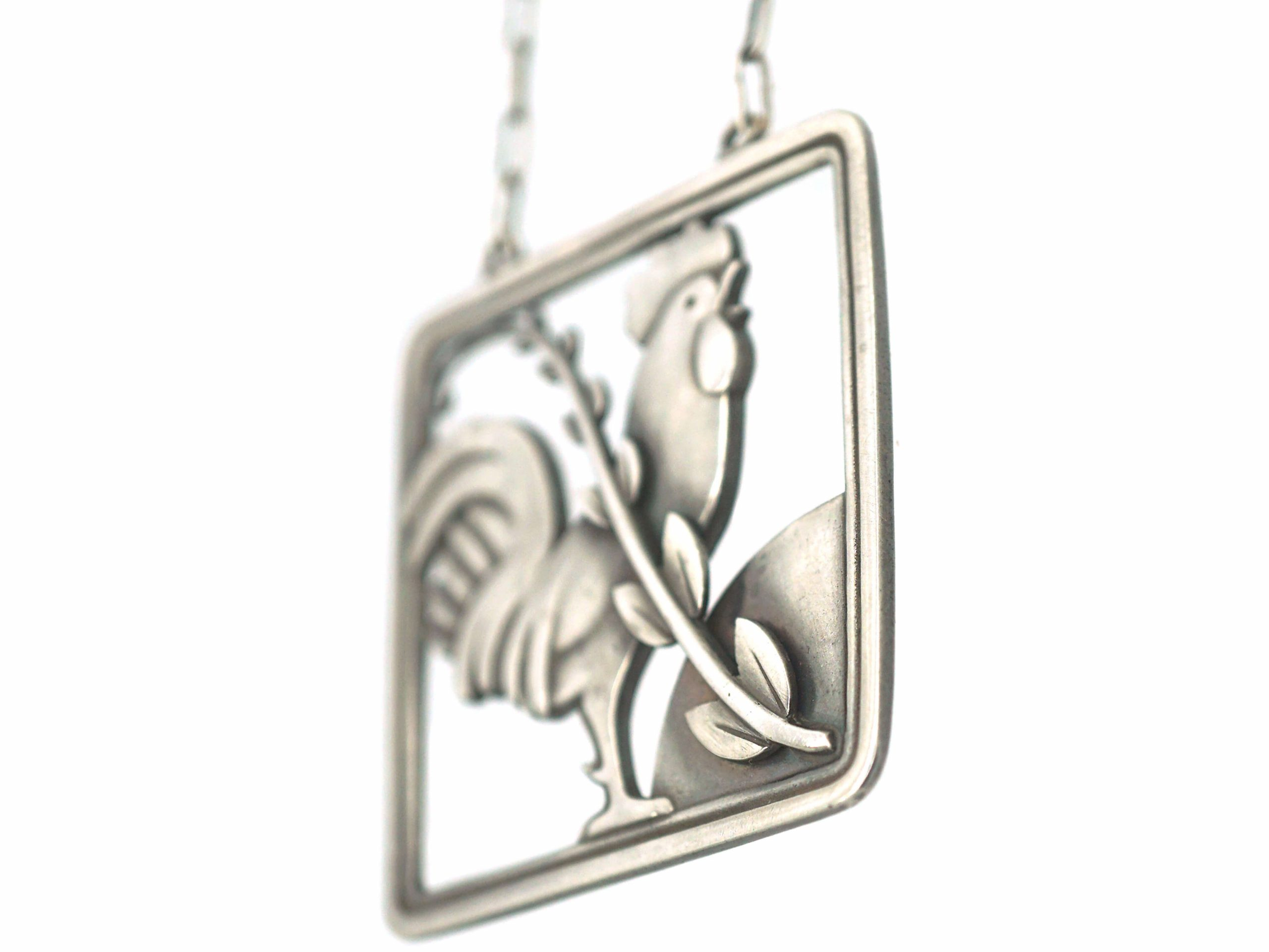 Silver Rooster Pendant on Chain by Arno Malinowski for Georg Jensen