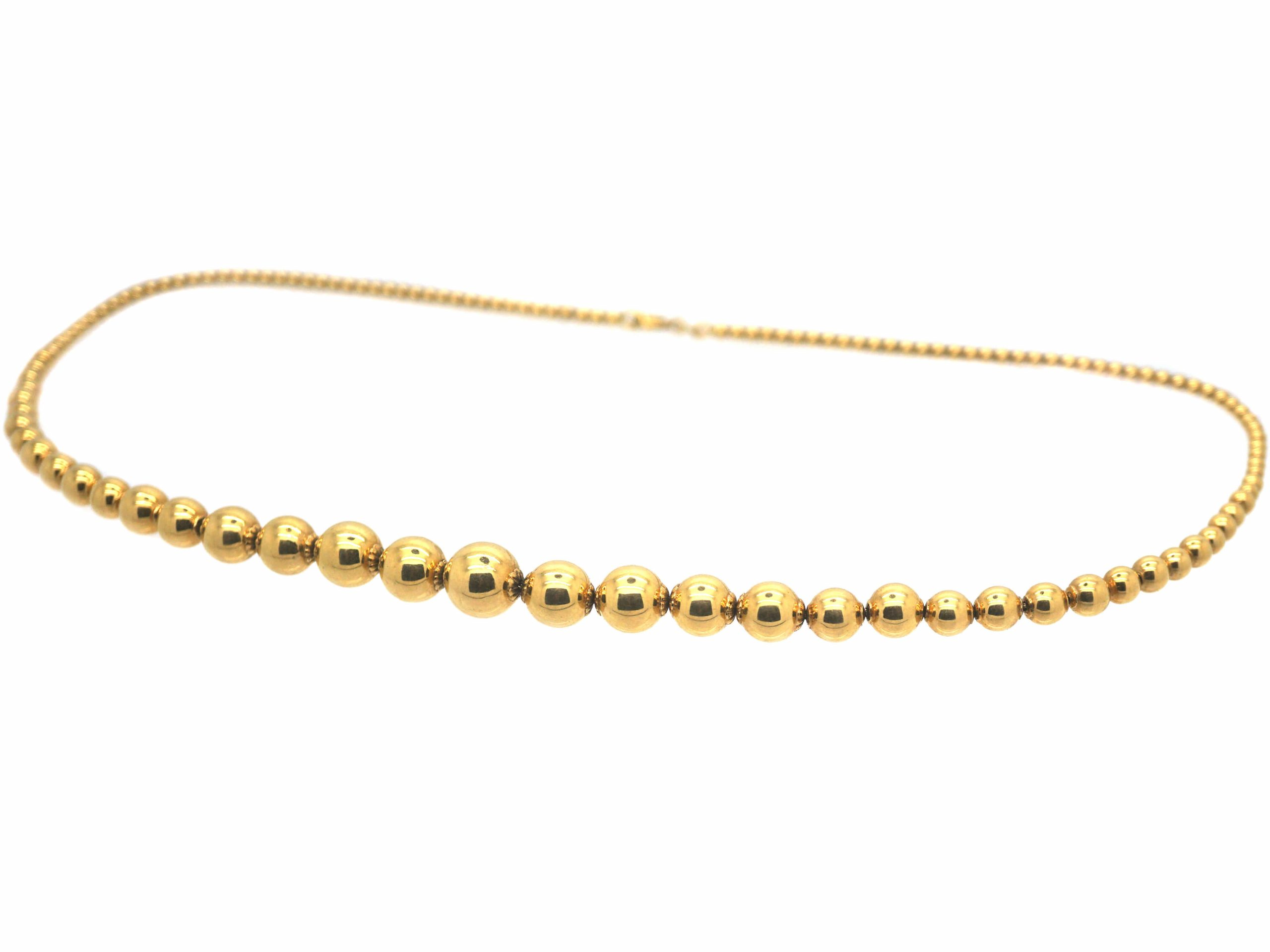 French 18ct Gold Graduated Bead Necklace