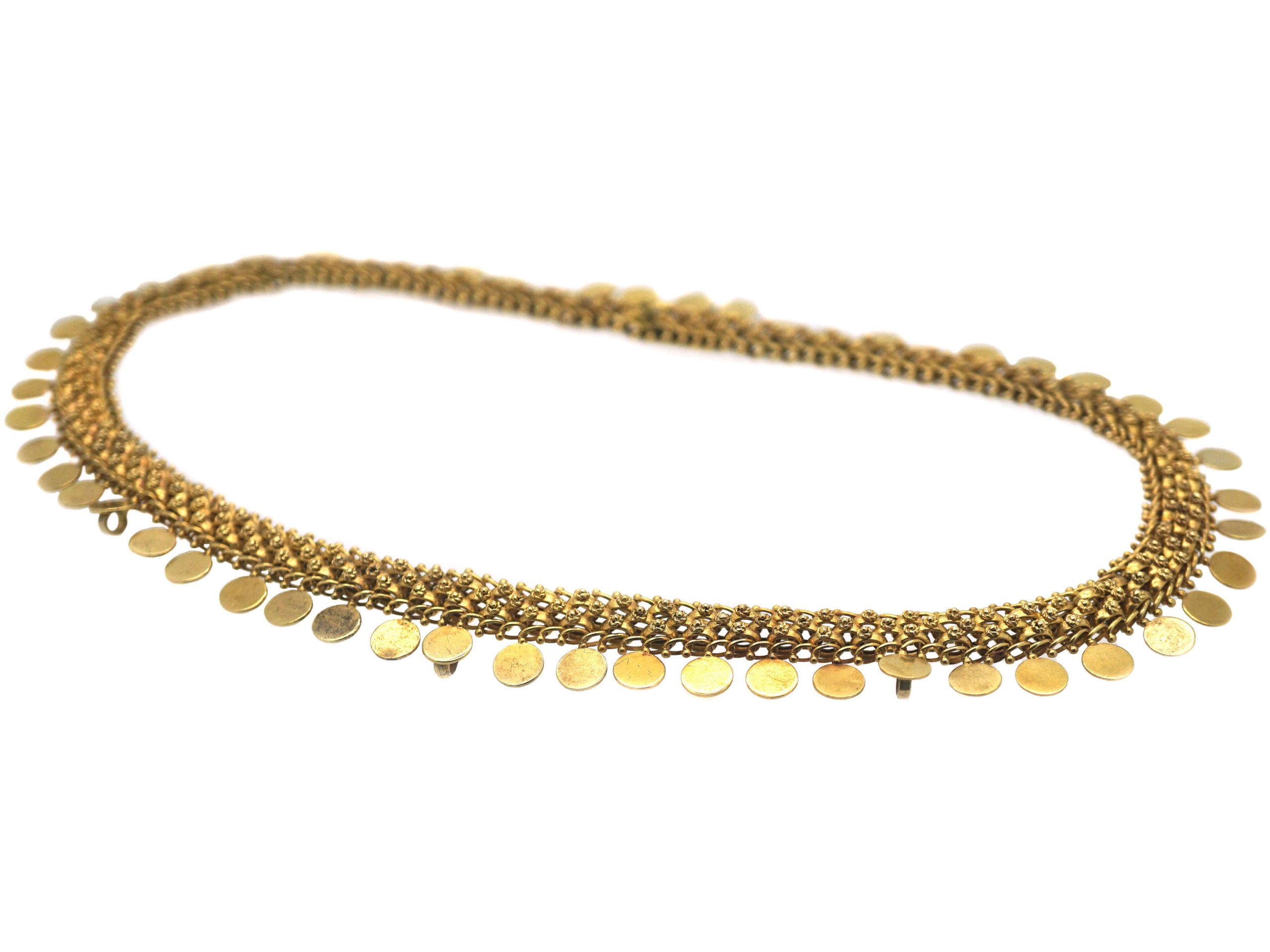 Victorian 15ct Gold Collar with Disc Drops