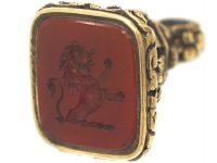 Late Georgian 18ct Gold Seal With Carnelian Intaglio of a Lion Rampant