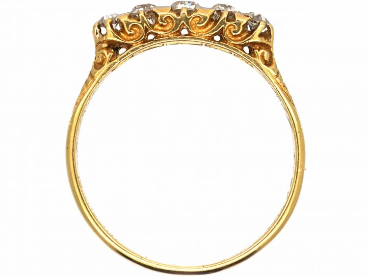 Edwardian 18ct Gold Five Stone Diamond Carved Half Hoop Ring